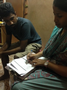 Mehreen (my research adviser) administering the questionairre (in Tamil)